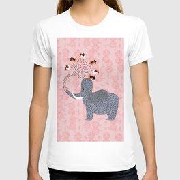 Happy Elephant and cute birds T-shirt