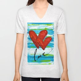 Two Hearts of Love Unisex V-Neck