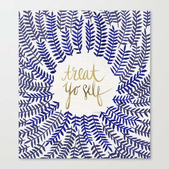 Treat Yo Self – Gold & Navy Canvas Print