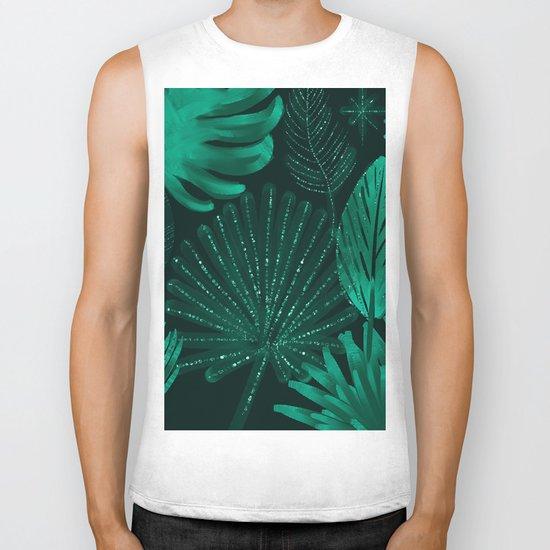 Emerald botanical - tropical ferns and palms Biker Tank