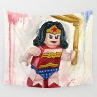 superhero Wall Tapestries featuring WW Superhero Lego by Toys 'R' Art