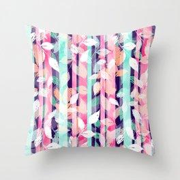 Cute Violet foliage brush paint design Throw Pillow