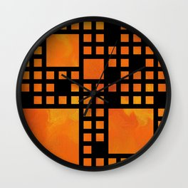 Visopolis V1 - orange flames Wall Clock