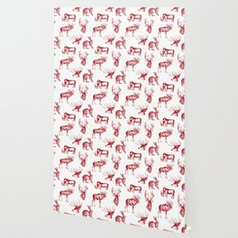 Woodland Critters in Red and White Wallpaper
