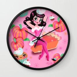 Pumpkin Pie Kawaii Pinup Girl Wall Clock