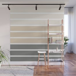 Neutral beige and gray colors stripes Wall Mural