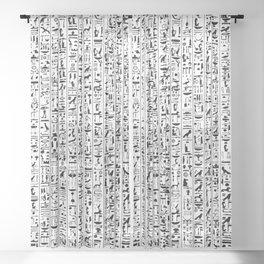 Hieroglyphics B&W / Ancient Egyptian hieroglyphics pattern Sheer Curtain