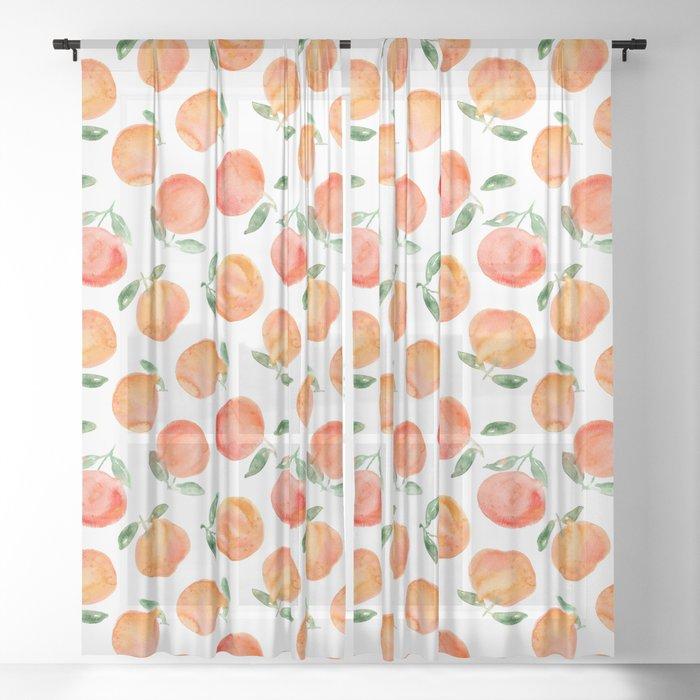 Watercolor oranges Sheer Curtain