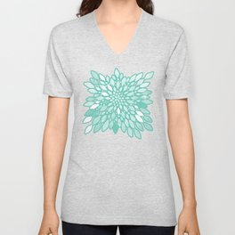 Radiant Dahlia in Teal and White Unisex V-Neck