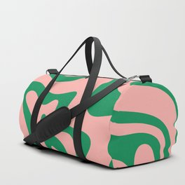Liquid Swirl Retro Abstract Pattern in Pink and Bright Green Duffle Bag