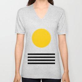 Midcentury Yellow Minimalist Sunset With Black Stripes Unisex V-Neck