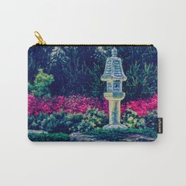 Oriental Garden with Birdhouse Statue Carry-All Pouch