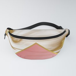 Gold marble pattern with red glass Fanny Pack