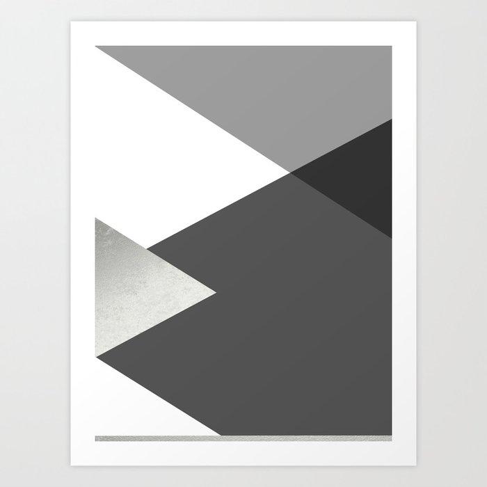 Geometrics II - grey black silver Kunstdrucke
