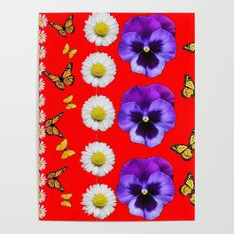PURPLE PANSIES, WHITE DAISIES, MONARCH BUTTERFLIES RED ART Poster