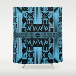 Art Deco Abstract Pastel Pattern Blue Shower Curtain