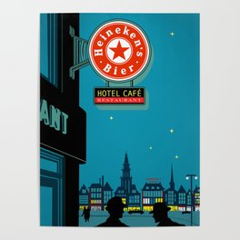 Amsterdam at Night, 1950's (Vintage Beer Ad Recreated) Poster