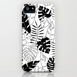 black and white tropical minimal leaves poster iPhone Case