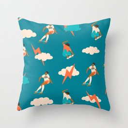 Skateboard girls Throw Pillow