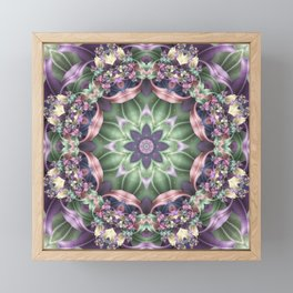 Fractal Ribbon Mandala in Purple, Green, Pink and Yellow Framed Mini Art Print