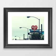 Heart 'O' Chicago Motel (Day) ~ vintage neon sign Framed Art Print