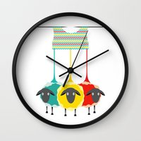 knitting Wall Clocks featuring Knitting sheep by Popmarleo