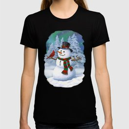 Cute Happy Christmas Snowman with Birds T-shirt