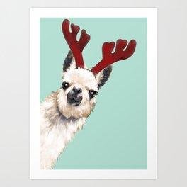 Llama Reindeer in Green Art Print