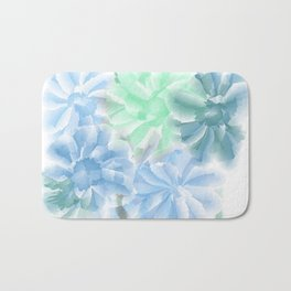 Big Flowers With Blue and Green Bath Mat