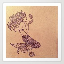 Mermaid Stamp Art Print