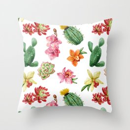 Watercolor Cactus on white background Throw Pillow