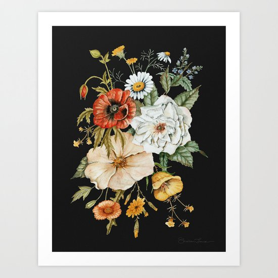 Wildflower Bouquet on Charcoal by shealeenlouise