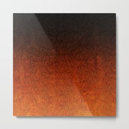 Orange & Black Glitter Gradient Metal Print