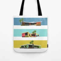 mid century modern Tote Bags featuring Mid Century Modern Houses 2 by MidPark Prints