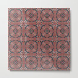 Eclectic Geometric Tile Art Pattern - Muted Brick Red Teal Metal Print