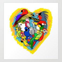 I heart parrots cute cartoon Art Print