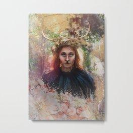Deer Woman Metal Print