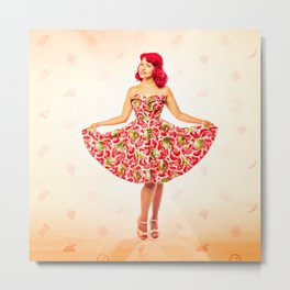 """Check Out These Melons"" - The Playful Pinup - Girl in Watermelon Dress by Maxwell H. Johnson Metal Print"