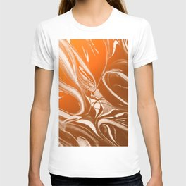 Copper Swirl - Copper, Bronze, gold and white metallic effect swirl pattern T-shirt