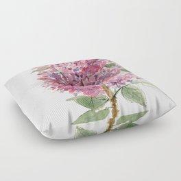 Pink Lilacs Floral Watercolor Garden Flower Nature Art Floor Pillow