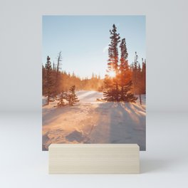 Magical winter sunrise light by Dream Lake Mini Art Print