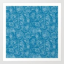 Mosaic Blue Roses Art Print