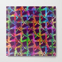 Cool watercolor rainbow brush plaid. Bright print Metal Print
