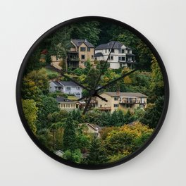 Houses on the hill Wall Clock
