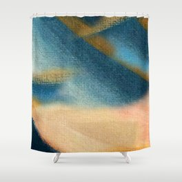 Wind and Rain - acrylic abstract with pink, blue, and brown Shower Curtain