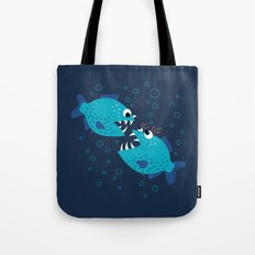 Gossiping Blue Piranha Fish Tote Bag