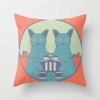 gemini Throw Pillows featuring gemini by Gray