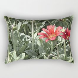 Red Daisy Botanical Rectangular Pillow