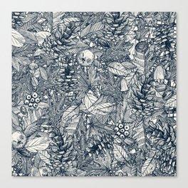 forest floor indigo ivory Canvas Print