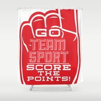 sport Shower Curtains featuring Go Team Sport! by Tony Ray